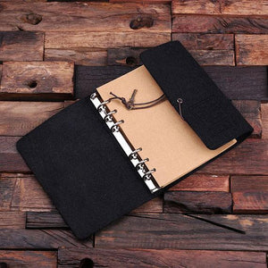 Personalized Felt Journal, Pen And Wood Box