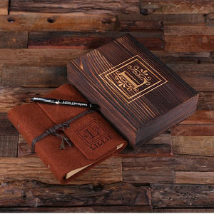 Personalized Felt Journal, Pen And Wood Box Brown