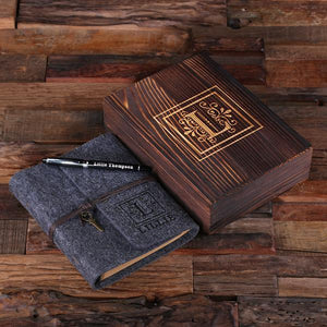 Personalized Felt Journal, Pen And Wood Box Dark Grey