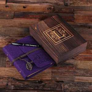 Personalized Felt Journal, Pen And Wood Box Deep Purple