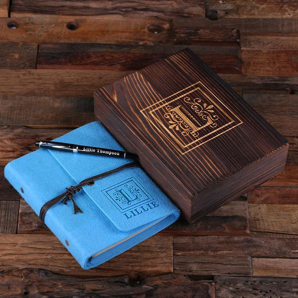 Personalized Felt Journal, Pen And Wood Box Electric Turquoise