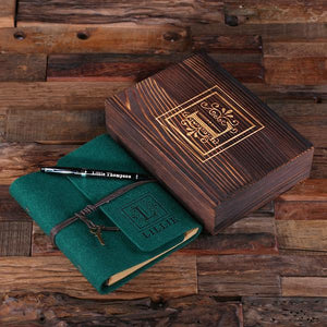 Personalized Felt Journal, Pen And Wood Box Hunter Green