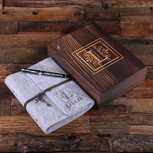 Personalized Felt Journal, Pen And Wood Box Light Grey