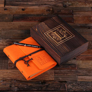 Personalized Felt Journal, Pen And Wood Box Orange
