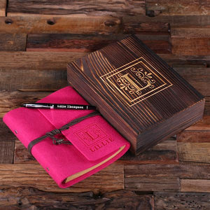 Personalized Felt Journal, Pen And Wood Box Pink Fuchsia