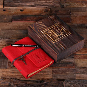 Personalized Felt Journal, Pen And Wood Box Ruby Red
