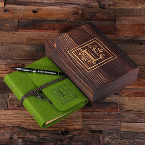 Personalized Felt Journal, Pen And Wood Box Tropical Green