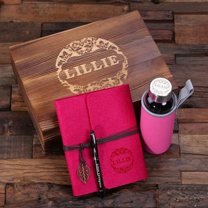 Personalized Felt Journal, Water Bottle, Pen and Wood Box