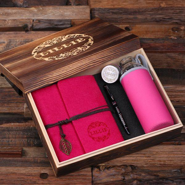 Personalized Felt Journal, Water Bottle, Pen And Wood Box Pink Fuchsia