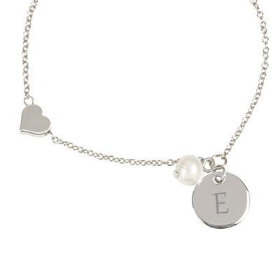 Personalized Heart and Pearl Charm Bracelet, Silver