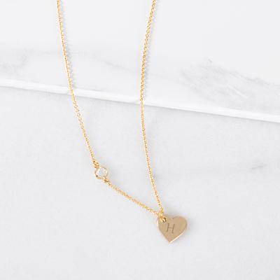 Personalized Heart Necklace with Bezel Crystal Gold