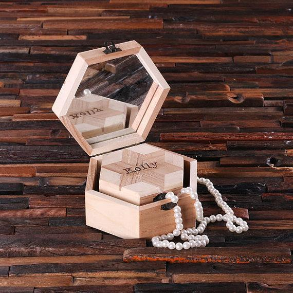 Personalized Nested Octagonal Wooden Jewelry Box Nestled Set (2)