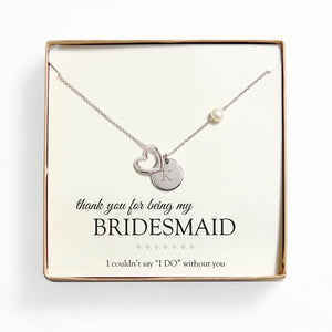 Personalized Open Heart Charm Necklace Bridesmaid Gift Silver