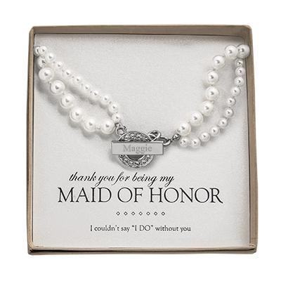 Personalized Pearl Necklace with Rhinestone Toggle