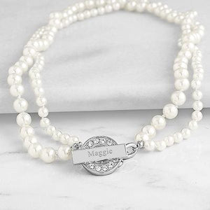 Personalized Pearl Necklace with Rhinestone Toggle Ivory