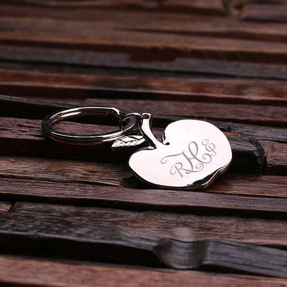 Personalized Polished Apple Key Chain