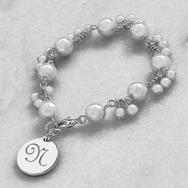 Personalized Romance Pearl Bracelet Bridesmaid Gift