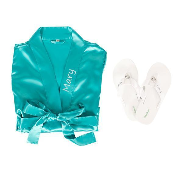 Personalized Satin Robe with Flip Flop Set Bridesmaid Gift AQUA / M/M