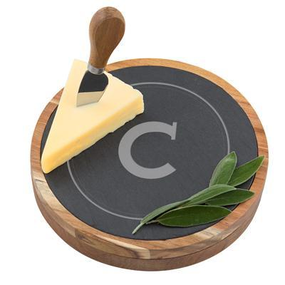 Personalized Slate and Acacia Cheese Board & Utensils