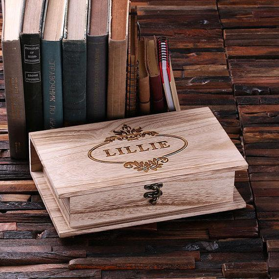 Personalized Wooden Book Keepsake Box SMALL