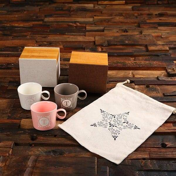 Sandblasted Mug & Gift Box Set With Bamboo Coaster Lids