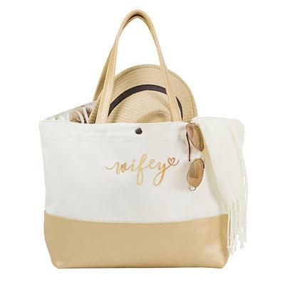 Wifey Metallic Color Dipped Tote Bag, Gold