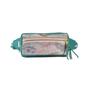 Women's Leather Fanny Pack Teal Splash