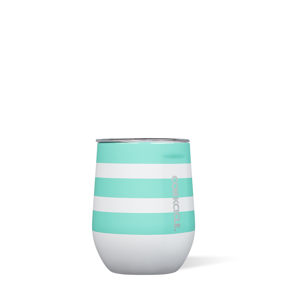 Turquoise Stripe Stemless