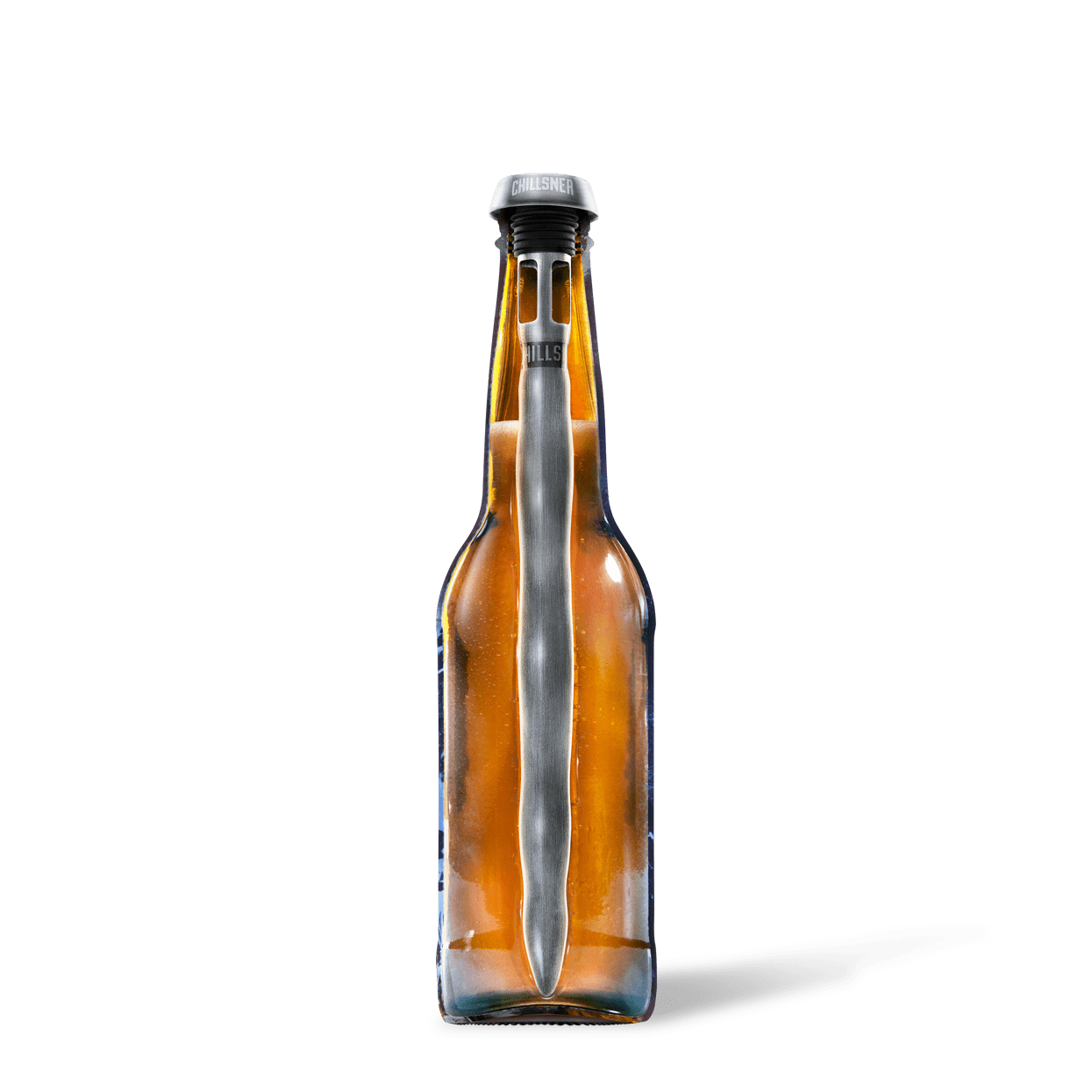 Chillsner beer chiller in beer bottle.