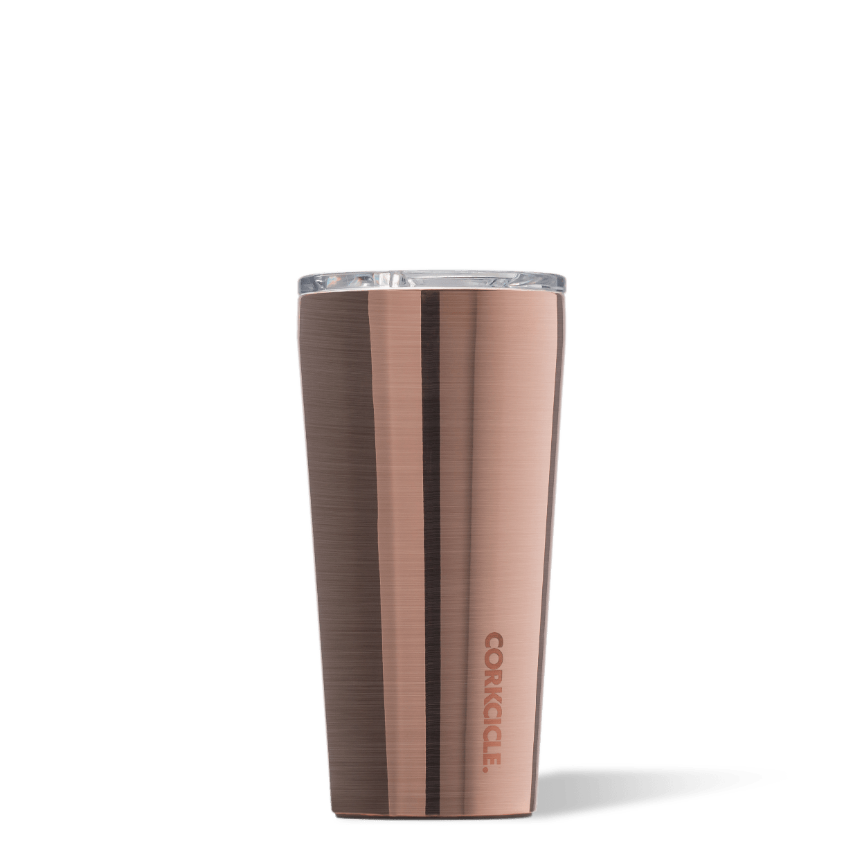 Corkcicle 16oz Brushed Steel Metallic Tumbler Side View.
