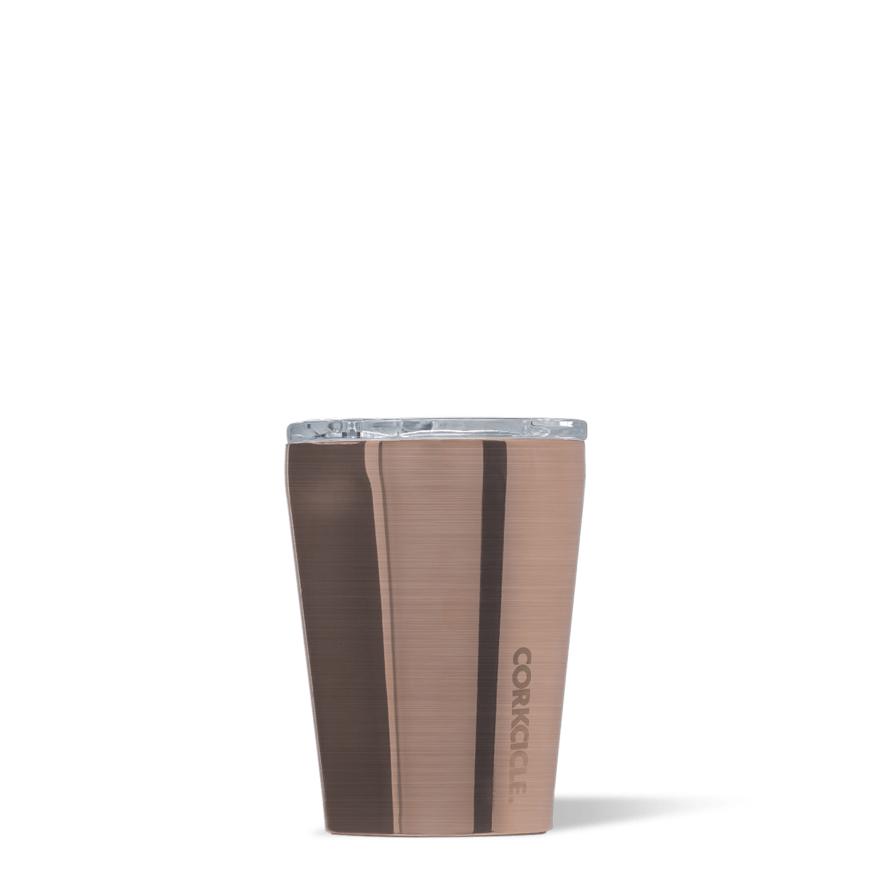 Corkcicle 12oz Copper Metallic Tumbler Side View.