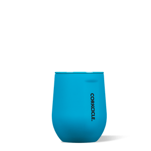 Corkcicle 12oz Stemless Wine Cup Neon Blue Side View