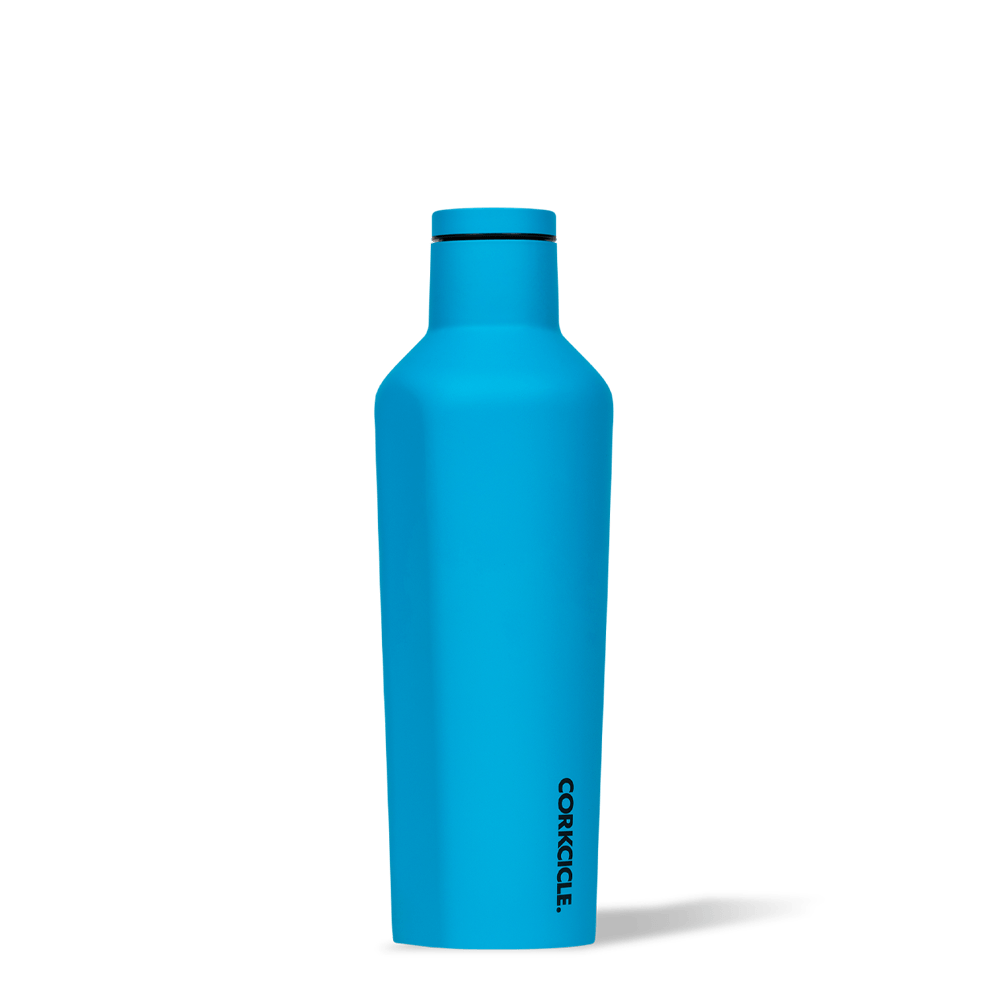 Corkcicle 16oz Canteen Neon Blue Side View