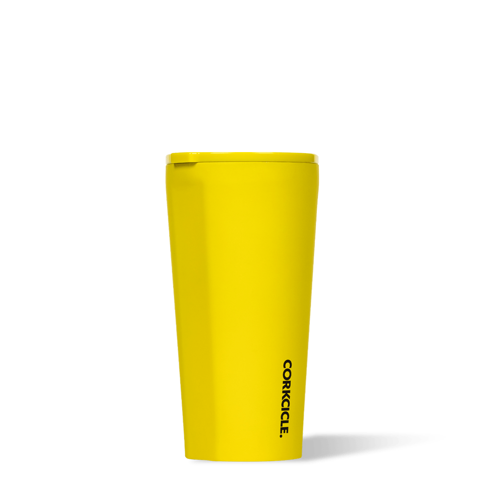 Corkcicle 16oz Tumbler Neon Yellow Side View