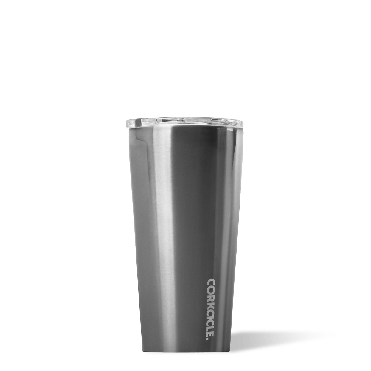 Corkcicle 16oz Gunmetal Metallic Tumbler Side View.