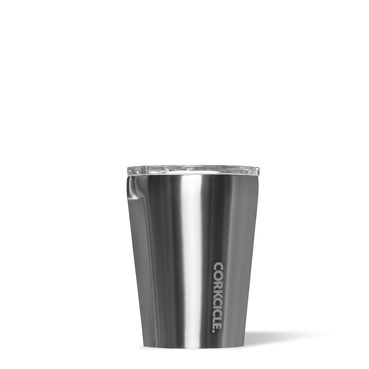 Corkcicle 12oz Gunmetal Metallic Tumbler Side View.