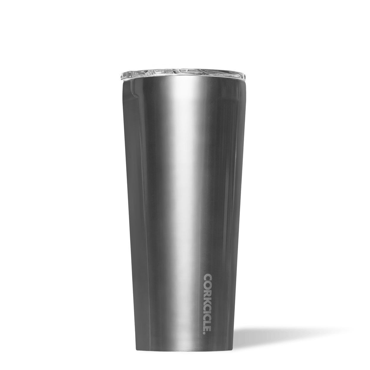 Corkcicle 24oz Gunmetal Metallic Tumbler Side View.