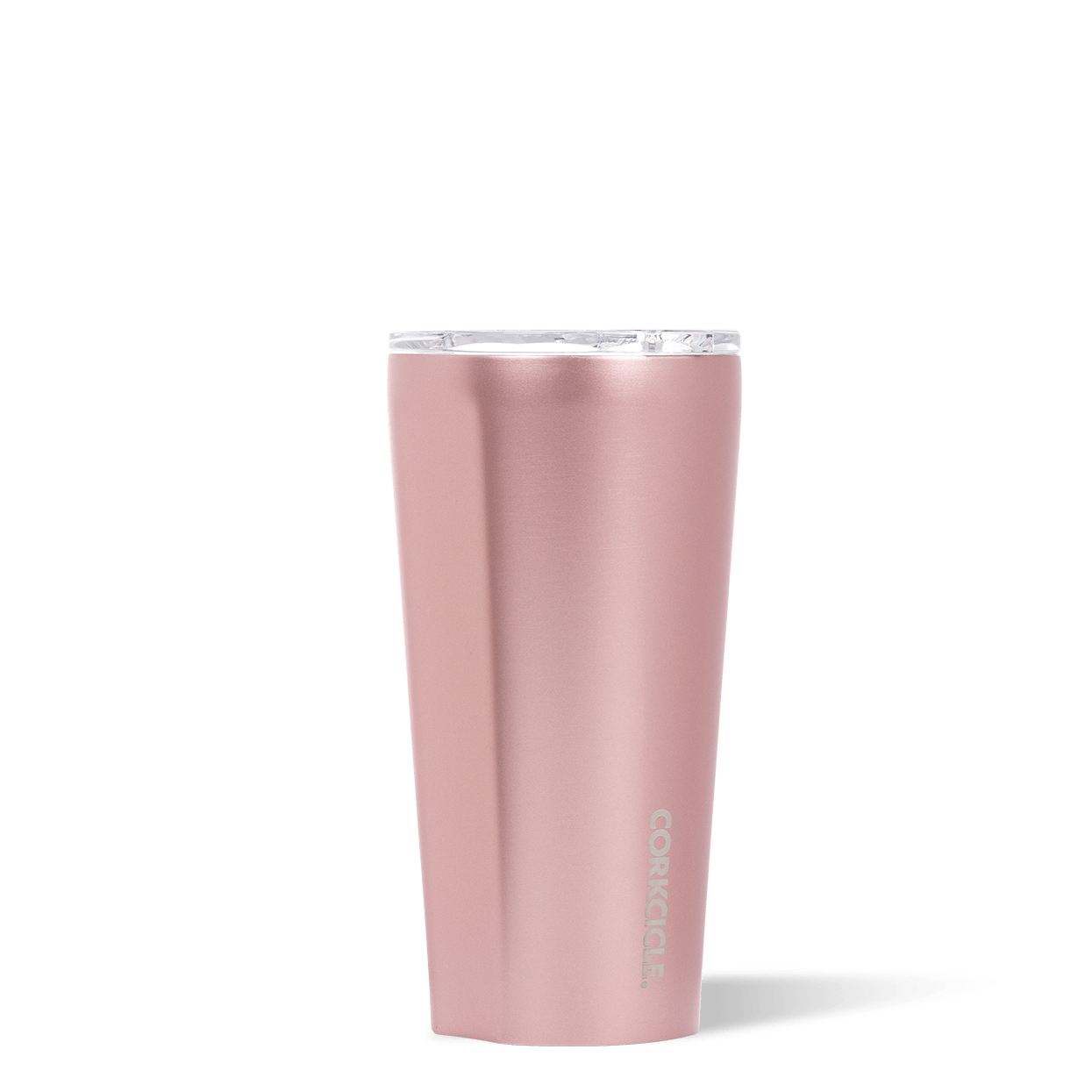 Corkcicle 16oz Rosé Metallic Tumbler Side View.