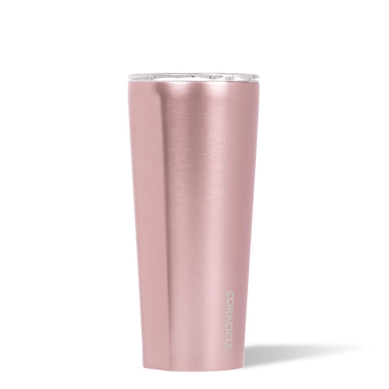 Corkcicle 24oz Rosé Metallic Tumbler Side View.
