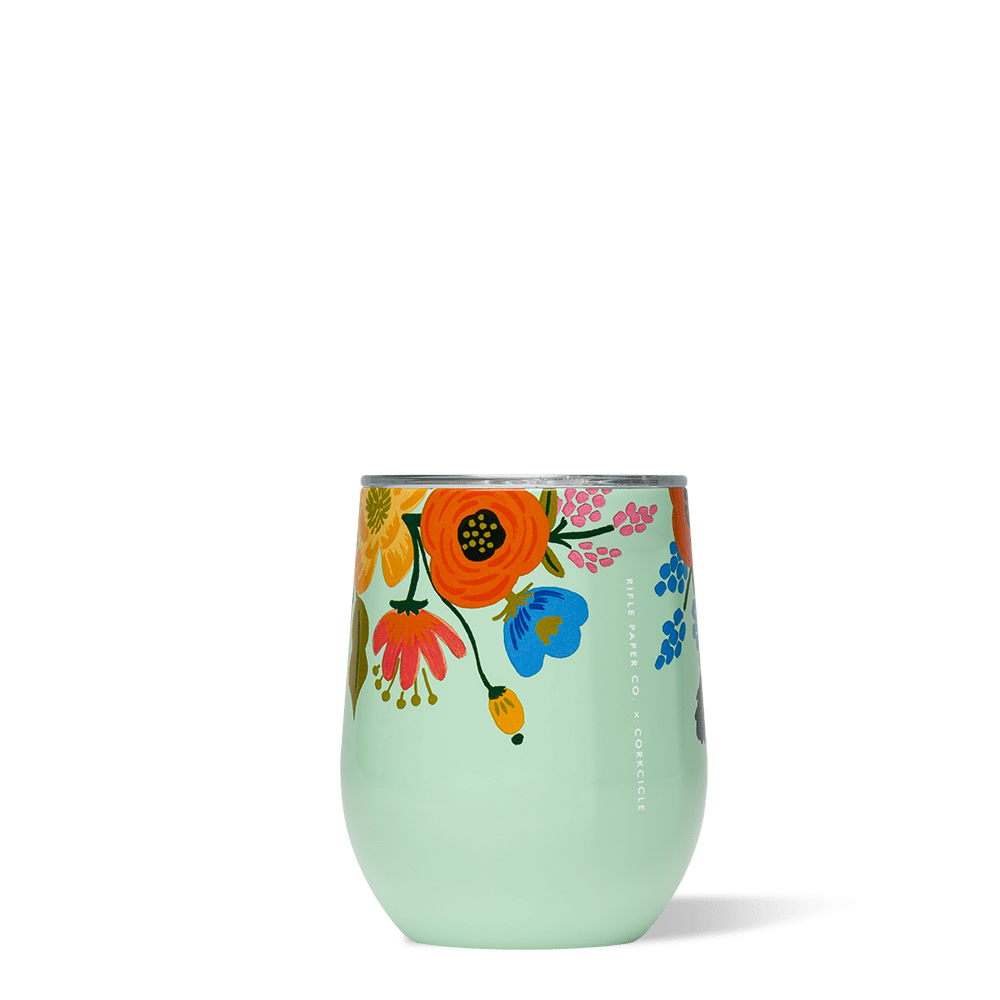 Rifle Paper Co. x Corkcicle Stemless Wine Cup_Lively Floral Mint