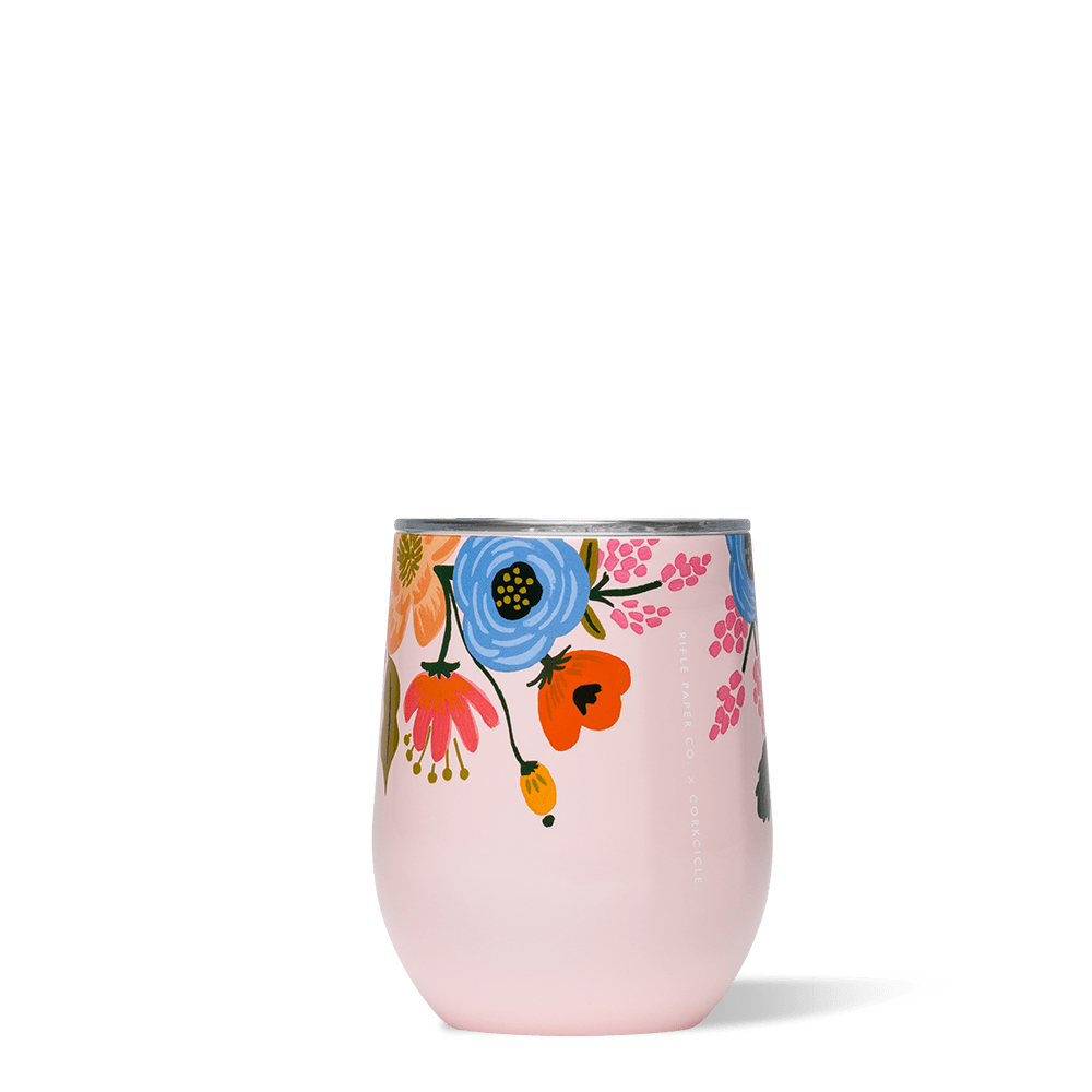 Rifle Paper Co. x Corkcicle Stemless Wine Cup_Lively Floral Blush