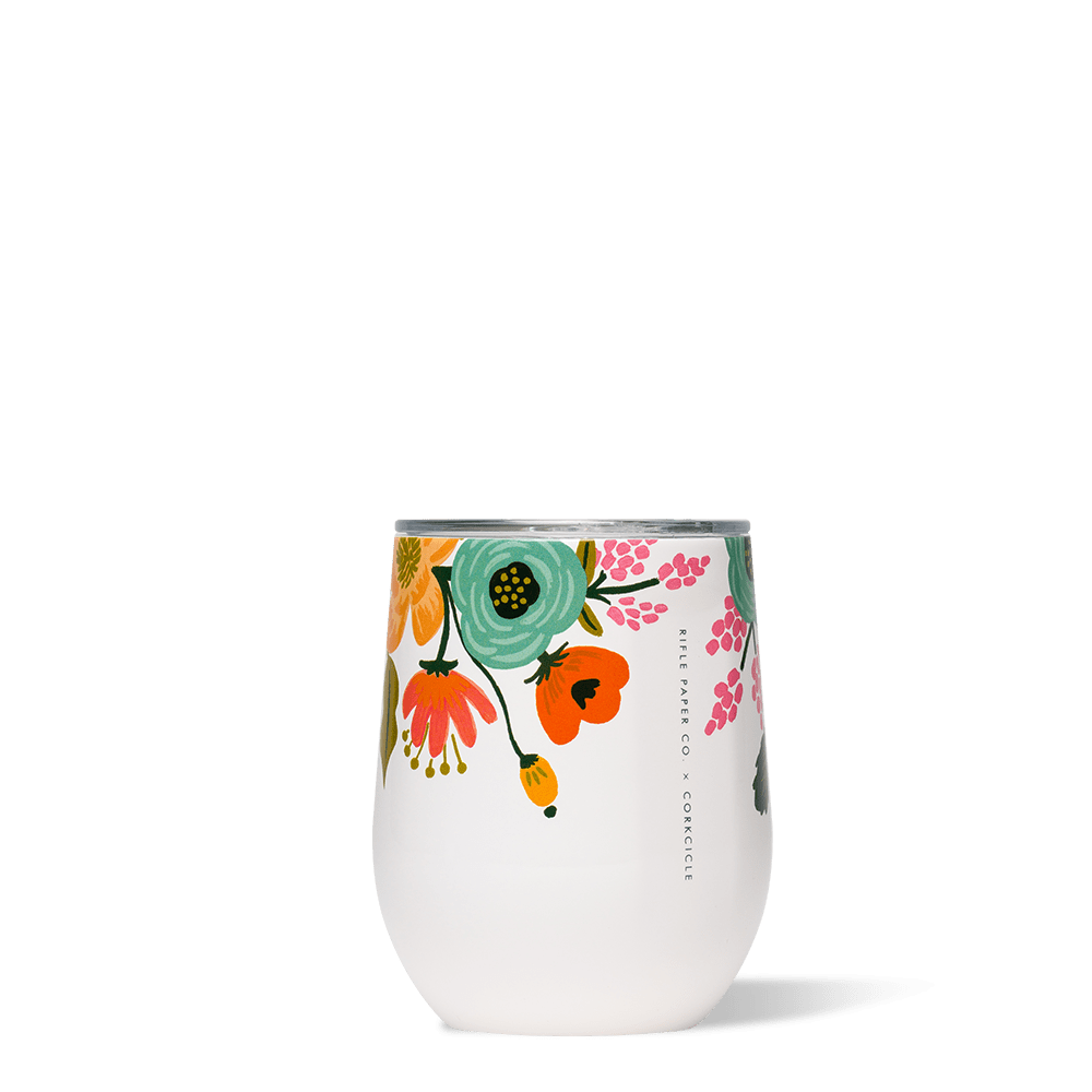 Rifle Paper Co. x Corkcicle Stemless Wine Cup_Lively Floral Cream