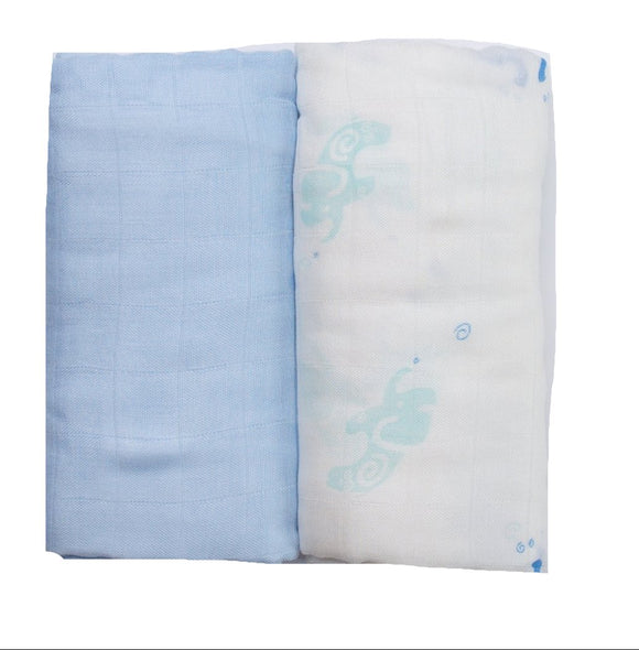 Blue Elephants Muslin Set