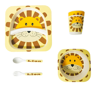Lion Bamboo Dining Set (Yellow)
