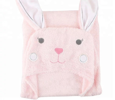 Pink rabbit hooded towel