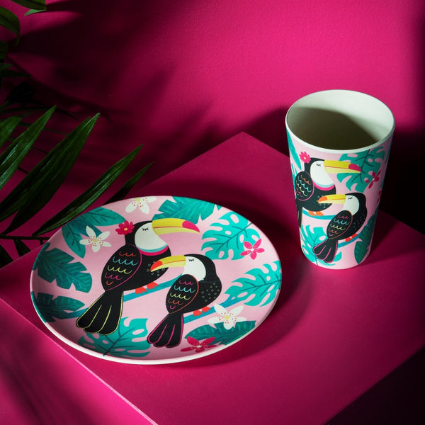 Tiki Toucan bamboo plate and cup