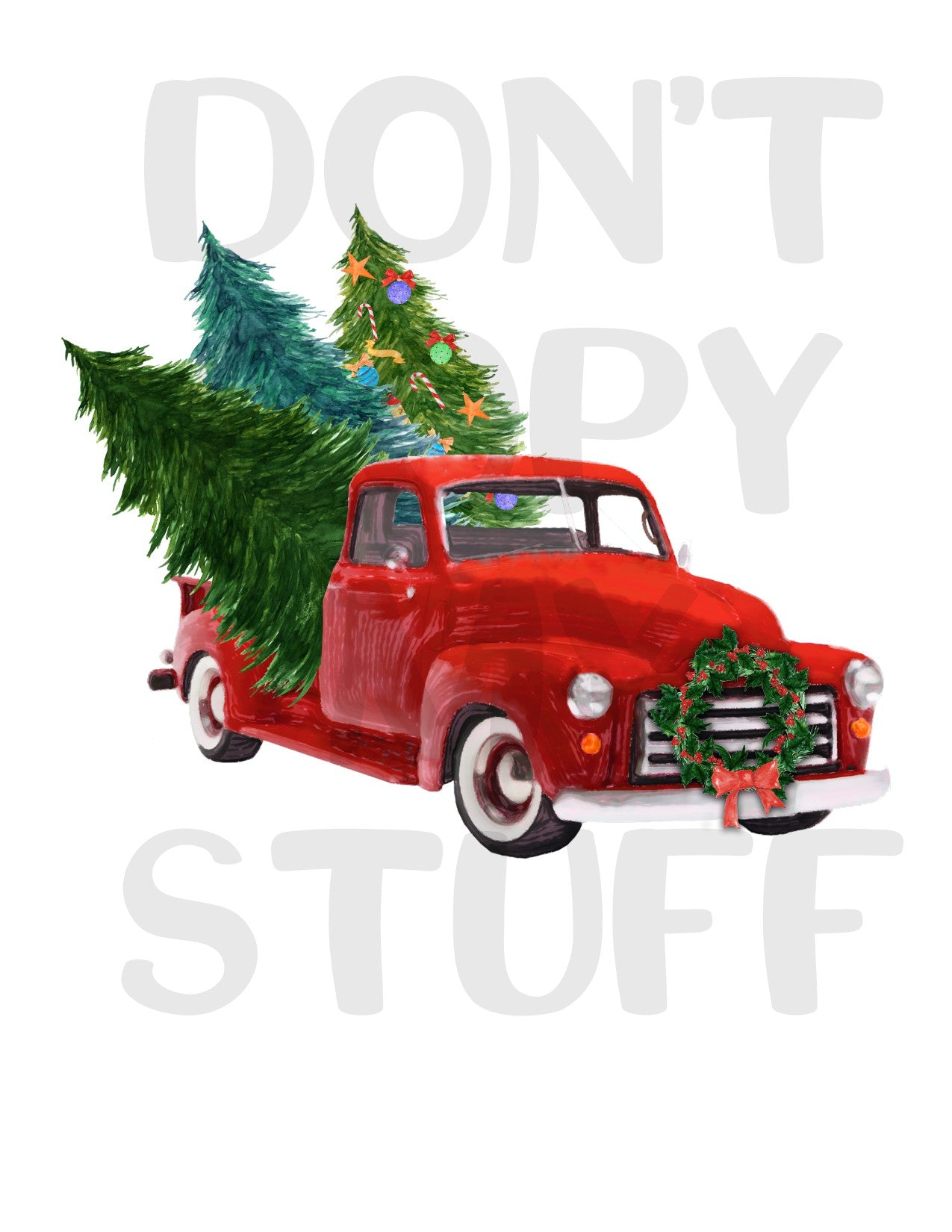 Red Truck Christmas Tree Sublimation Transfer Jam Tees Design