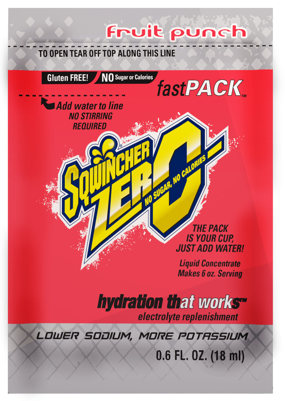 Sqwincher FastPack® Zero Fruit Punch, Box of 50 Single Serve Packs