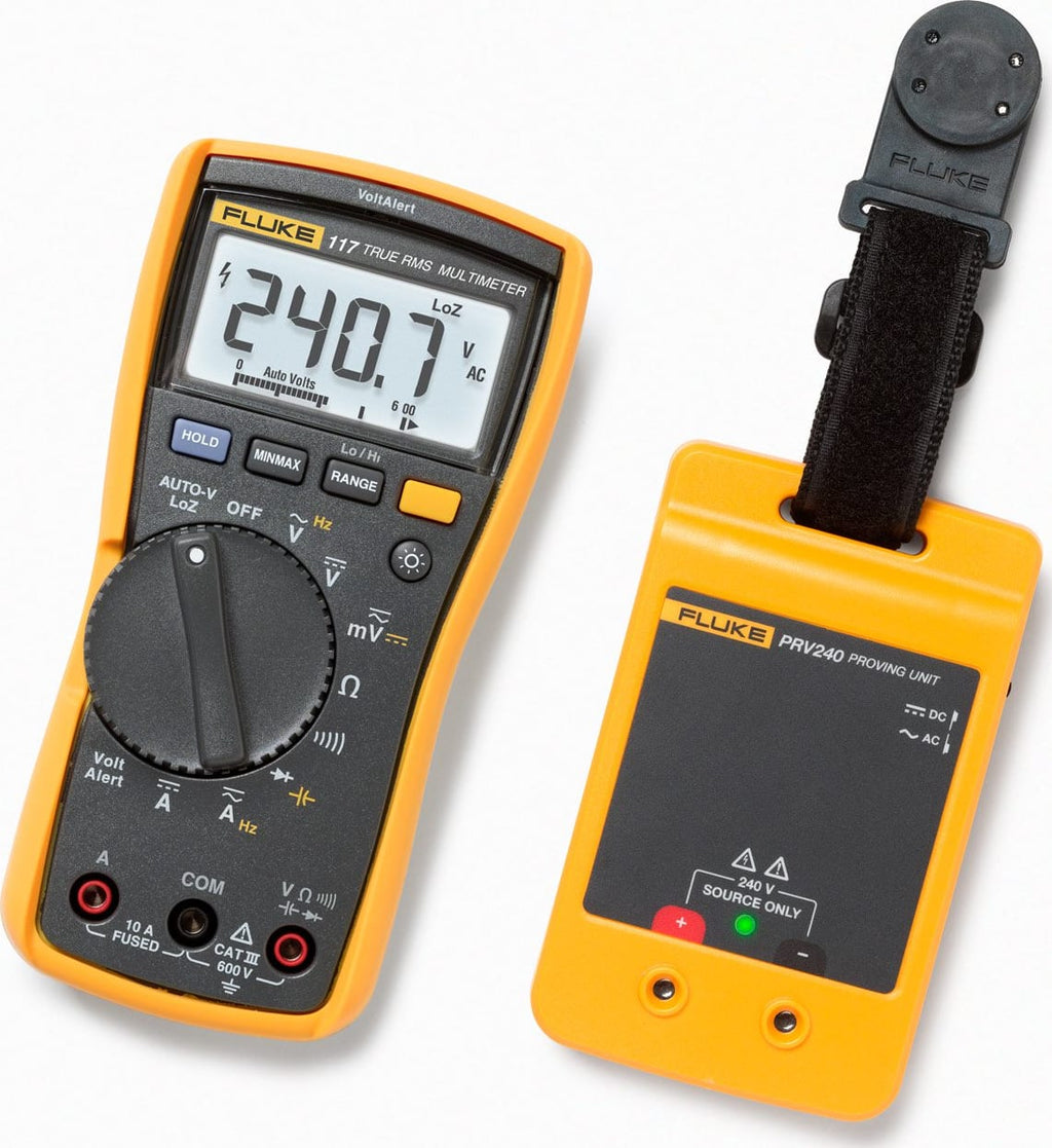 Fluke 117 Multimeter and PRV24 Proving Unit Kit