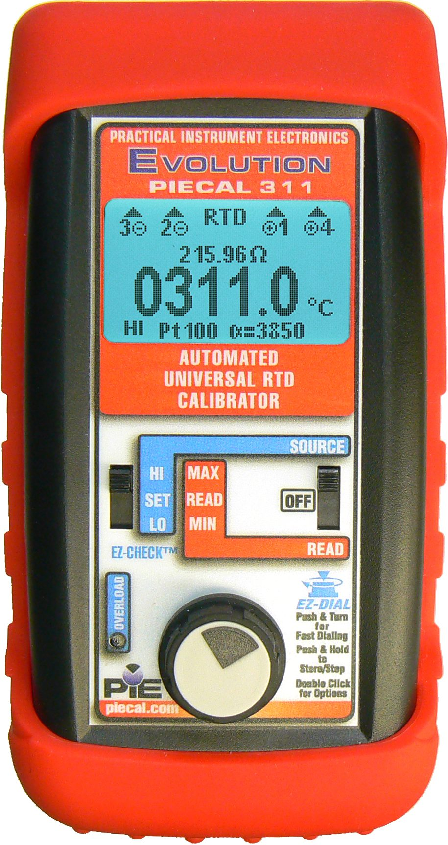 PIE 311 RTD Process Calibrator with Patented RTD Wire Detection